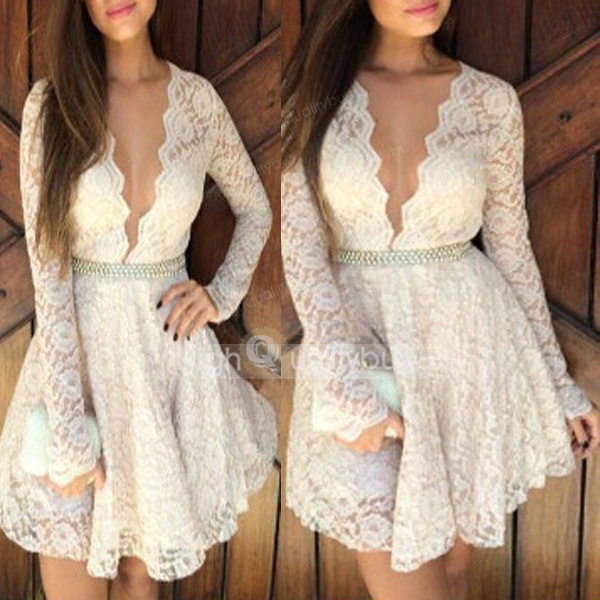 Sexy deep v neck long sleeve princess lace dress for women_$16.49