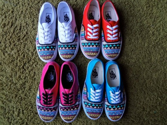 shoes vans red shoes white shoes pink shoes blue shoes red pink colorful blue aztec light blue aztec print