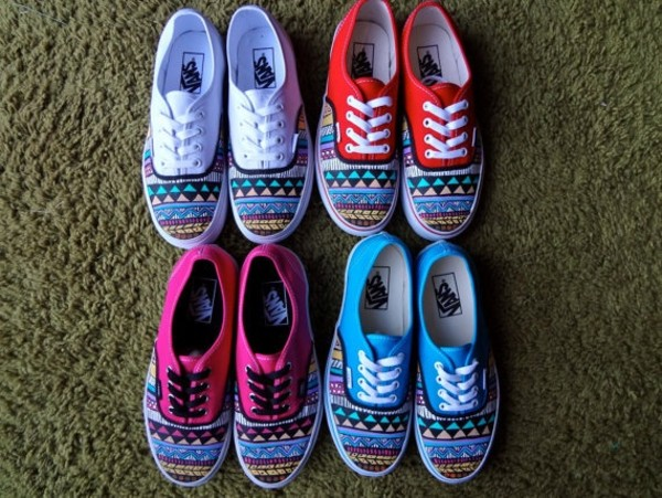 shoes pink red colorful blue vans aztec light blue