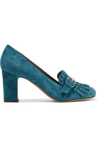 suede pumps embellished pumps suede teal shoes