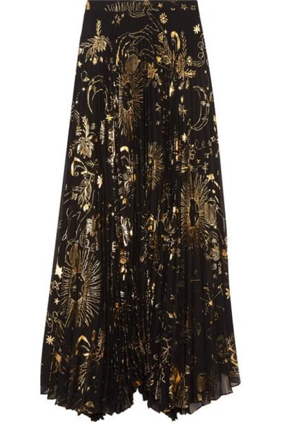 alice + olivia skirt maxi skirt maxi chiffon pleated metallic gold
