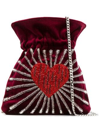heart women bag bucket bag cotton red