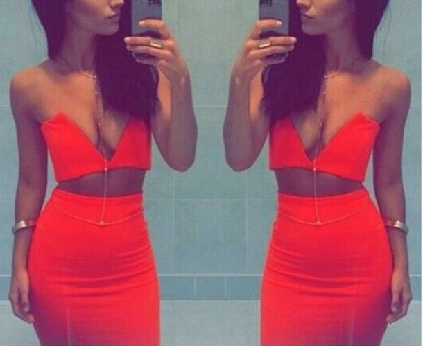 dress two-piece red set
