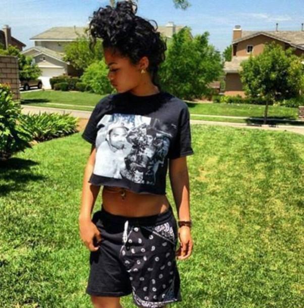 Shirt Chris Brown Crop Tops Black Bandana Shorts