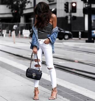 top tumblr bodysuit stripes striped top jacket denim denim jacket jeans white jeans ripped jeans sandals sandal heels high heel sandals bag black bag shoes