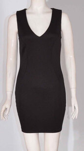 dress,womens sleeveless back neck zip vneck bodycon short mini dress black