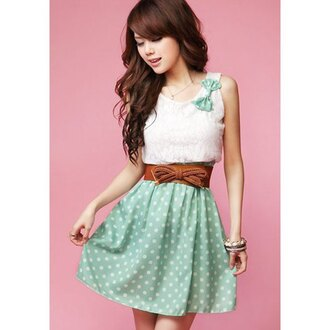 dress polka dots white bow girly