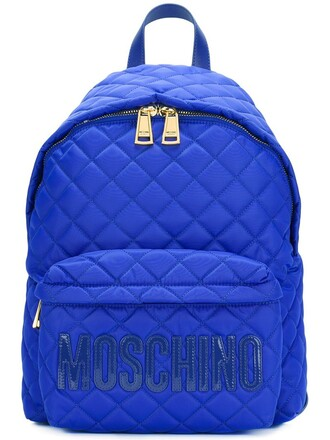 quilted backpack blue bag