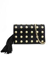 studded,clutch,gold,leather,black,bag