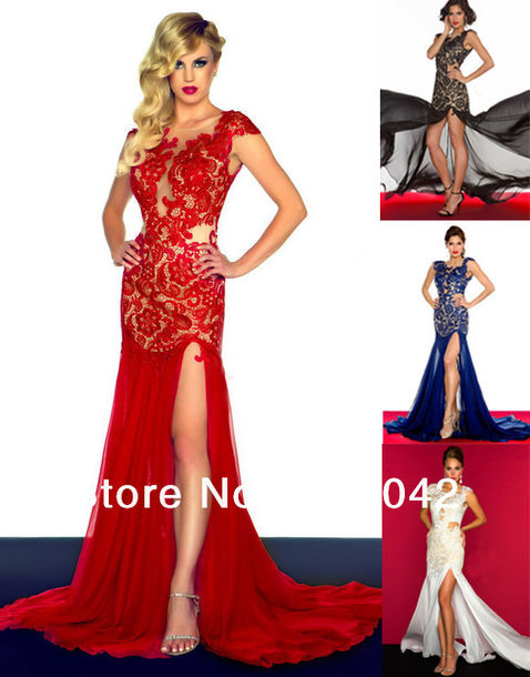 Dress: long prom dress, red dress, slit dress, lace dress, evening ...
