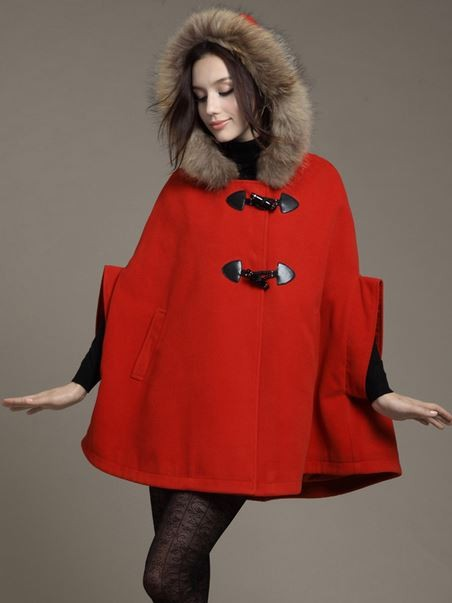 Red Hooded Wool Blend Duffle Poncho