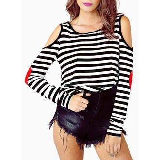top stripes hippie chic off the shoulder streetstyle girly rose wholesale