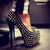 shoes,stilettos,studs,studded,high heels,black,silver,gold