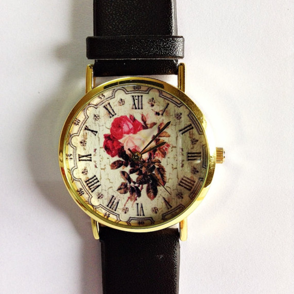 jewels cute vintage floral pink gold freeforme watch