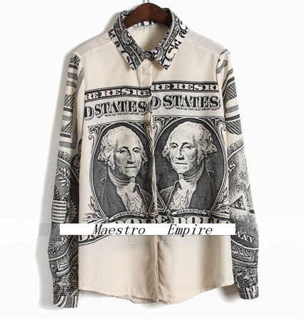 Festival Boyfriend US Dollar Note Print Money Vintage Retro Grunge Shirt Blouse  ($99.99) - Svpply