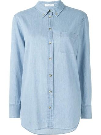 shirt button down shirt women cotton blue top