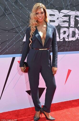 jumpsuit high heels hair clutch laverne cox