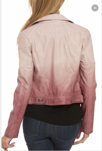 jacket leather jacket pink dip dyed