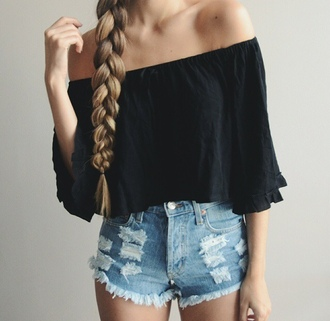 blouse shorts top denim shorts denim ripped shorts ripped black top black blouse winter outfits high waisted shorts shirt jeans black shirt girly dress fashion