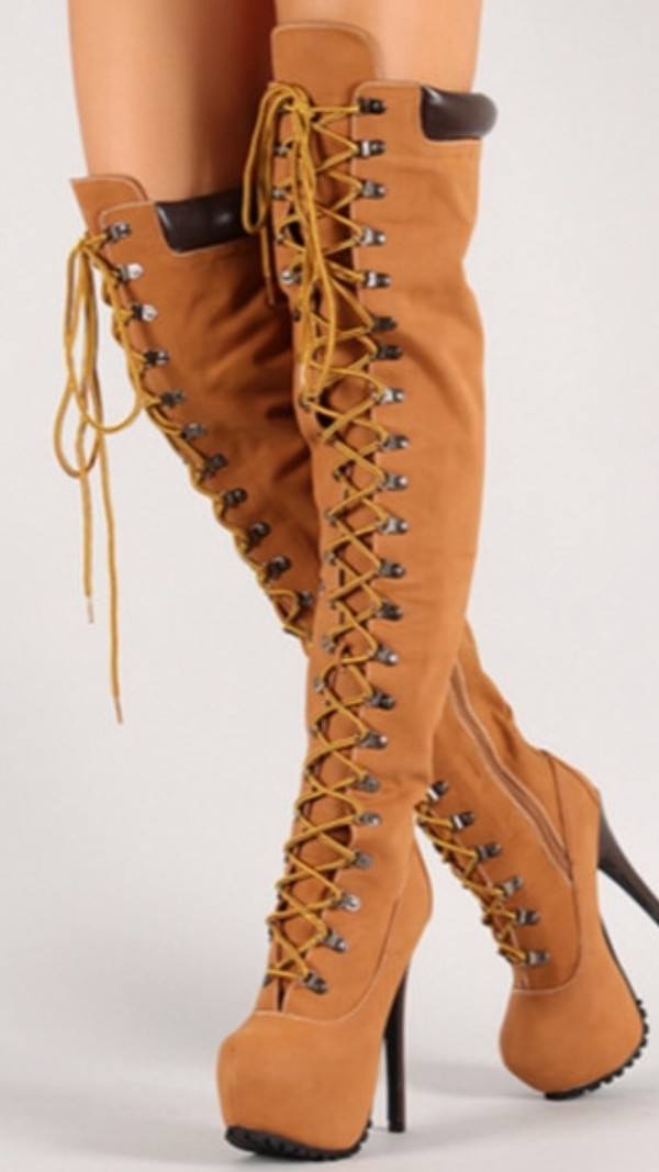 Shoes: wheat, boots, heels, lace up, over ther knee, timb inspired ...