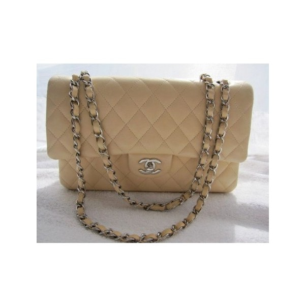 CHANEL Classic Beige Tan Quilted Lambskin Double Flap Bag Purse