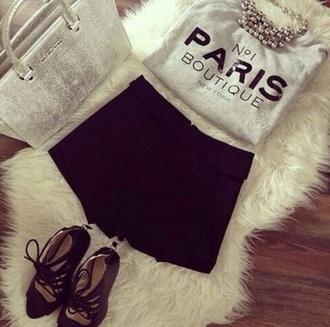 shirt paris grey cute cute top graphic tee