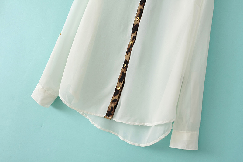 White Long Sleeve Contrast Leopard Lapel Blouse - Sheinside.com
