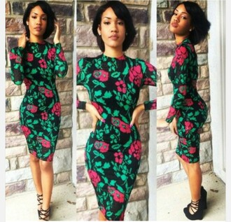 dress pink dress green dress black dress bodycon dress long sleeves floral dress bodycon red lime sunday midi dress flowers floral