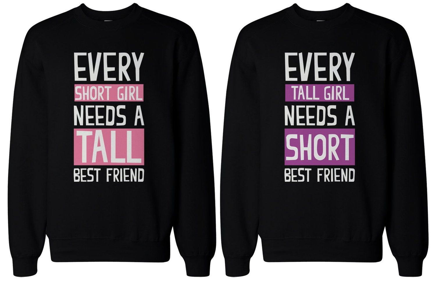 Amazon.com: BFF Gifts - Tall and Short Best Friend Matching Sweatshirts for Best Friends: Clothing
