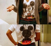jacket,clothes,mickey mouse,t-shirt,cuteshirts,cute,top,shirt,cardigan,white,black,black and white,brown,sweater,red