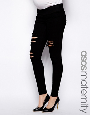 ASOS Maternity | ASOS Maternity Ridley Jean In Black With Extreme Rips at ASOS