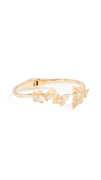 cuff open butterfly clear gold jewels