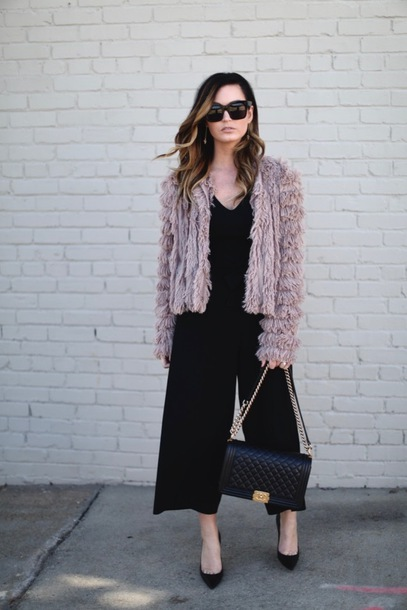 for all things lovely blogger jewels jacket jumpsuit shoes fuzzy jacket chanel bag pumps black jumpsuit winter outfits