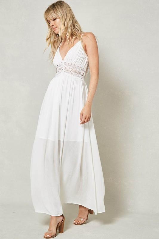 Off White Crochet Lace Insert Sleeveless Maxi Dress