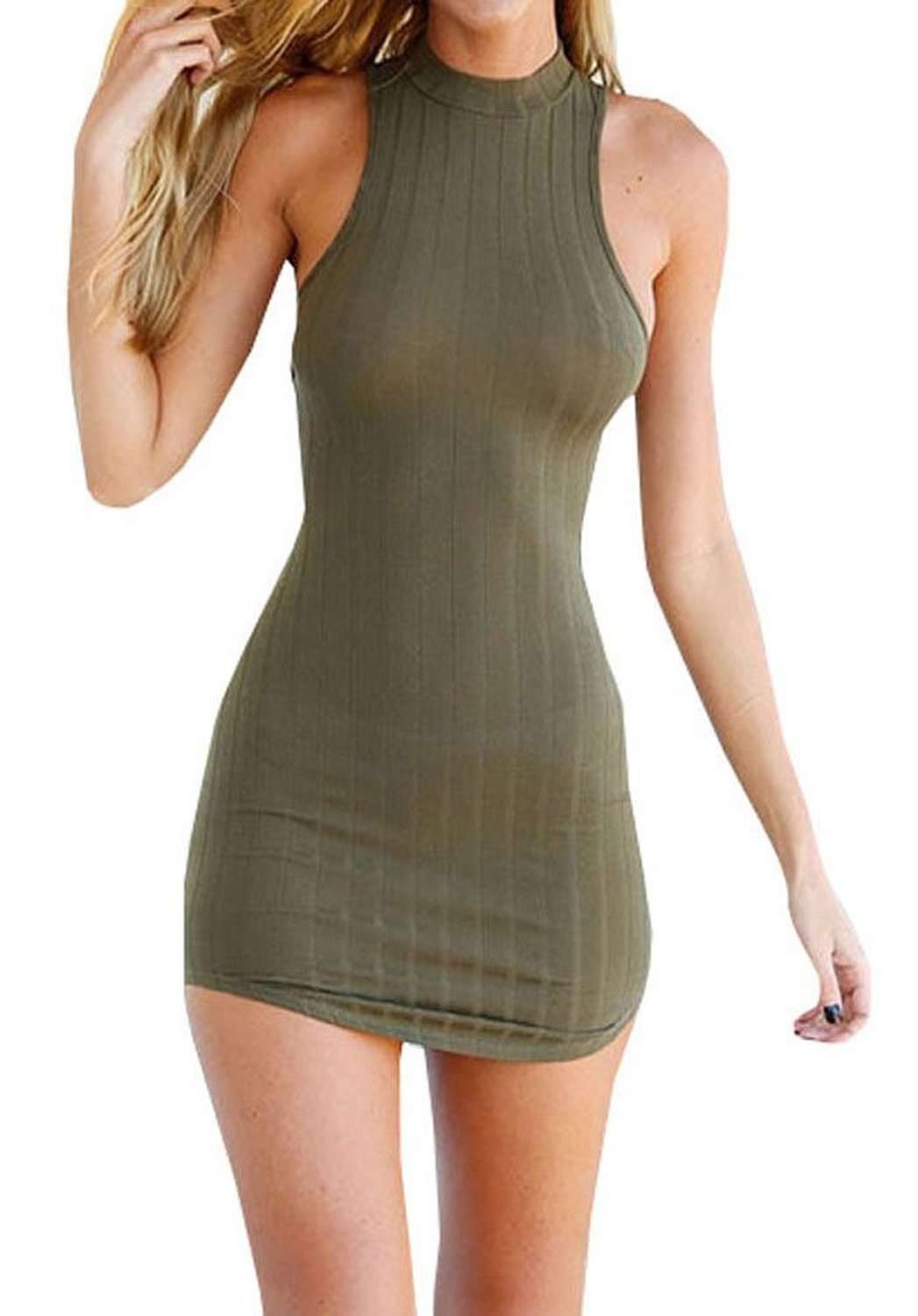 Bigyonger Women's Summer Halter Sleeveless Backless Sexy Mini Bandage Dress: Amazon Fashion