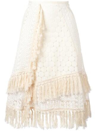 skirt women layered nude cotton crochet