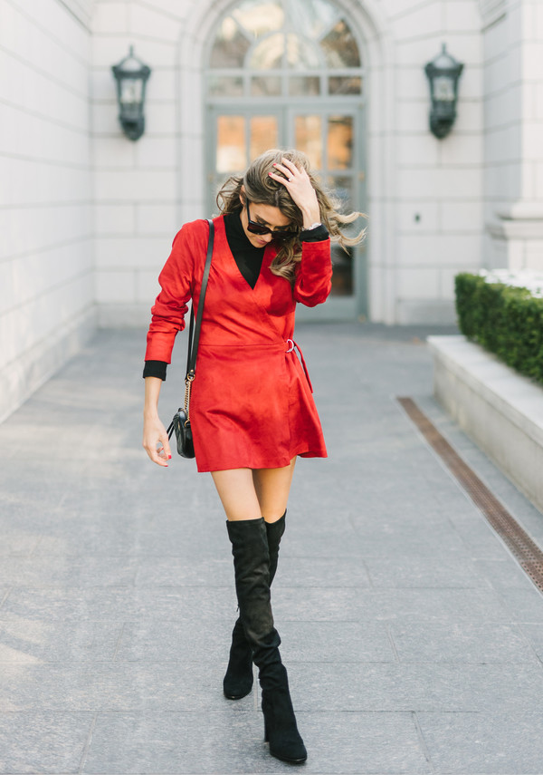 hello fashion blogger shoes jacket dress sunglasses red dress boots over the knee boots