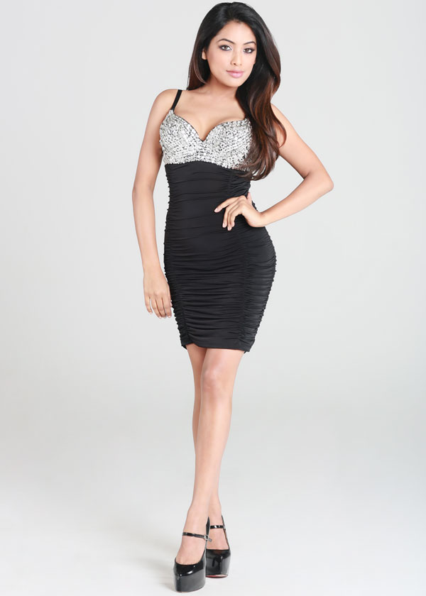 Black Sequin Dress - Black Ruched Silver Sequin Bra | UsTrendy