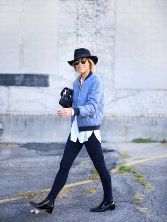 happily grey blogger jacket bag shirt shoes hat puffer jacket blue jacket black hat sunglasses mirrored sunglasses quilted