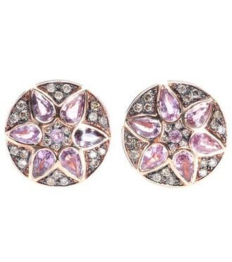 rose gold rose diamonds earrings stud earrings gold pink brown metallic jewels