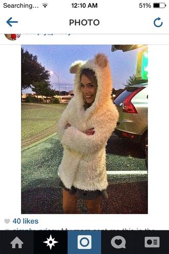 fur coat fur hoodie jacket cold winter sweater