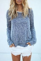 long sleeve shirt,cute top,plain shirt,top,blue,long sleeves,white neckline,shirt,marled,grey,blonde hair,layer,layered,tumblr,easy,cardigan,sweater,style,grey sweater,white sweater,comfy,shorts,white shorts,denim shorts