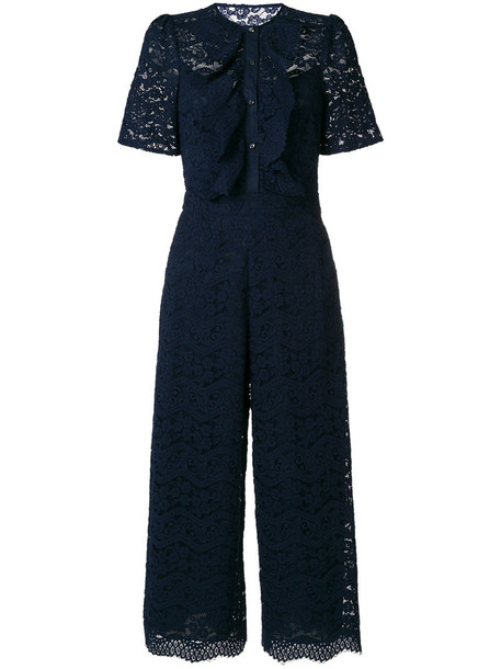 Temperley London jumpsuit women lace cotton blue