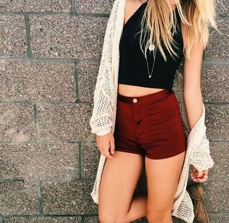 shorts high waisted shorts burgundy summer style halter top