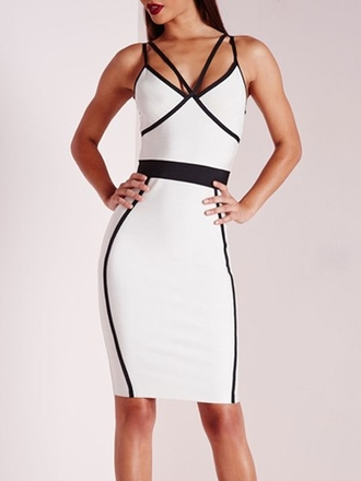 dress colorblock bodycon dress spaghetti strap