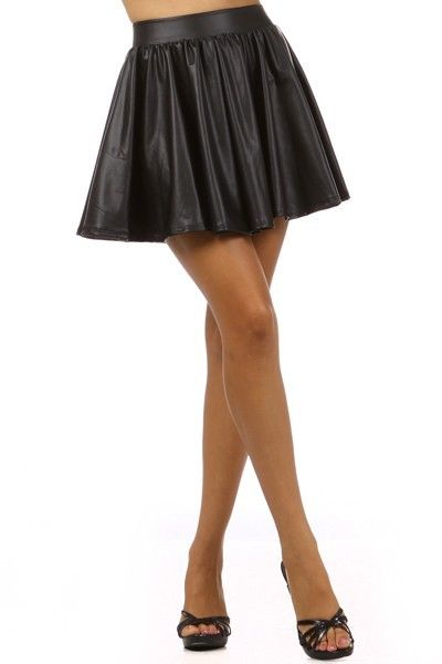 Womens New Hot Fashion Trends Faux Leather Matte Black SKATER Skirt ~S~M~L