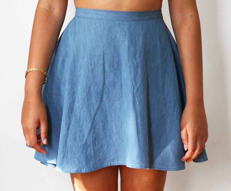 high waist chambray denim skater skirt