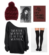 sweater,oversized sweater,noodle,noodie,thigh highs,crew neck pullover,tights,hat,underwear,pom pom beanie