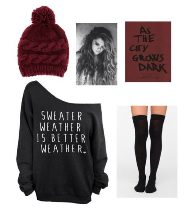 sweater oversized sweater noodle noodie thigh highs crew neck pullover tights hat underwear pom pom beanie