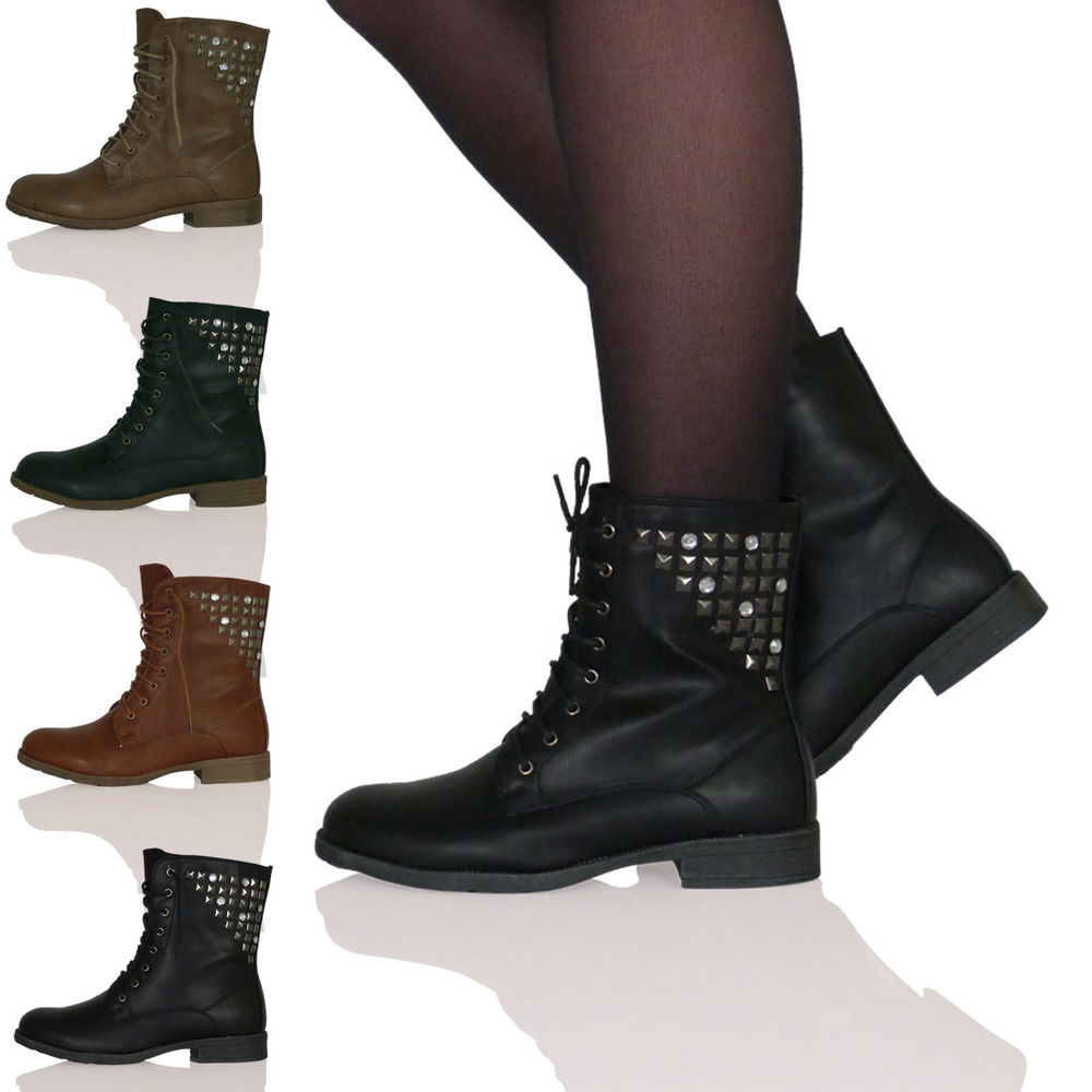 WOMENS LADIES STUDDED LACE UPS SHOES ANKLE BOOTS ARMY COMBAT WORKER MILITARY NEW | eBay